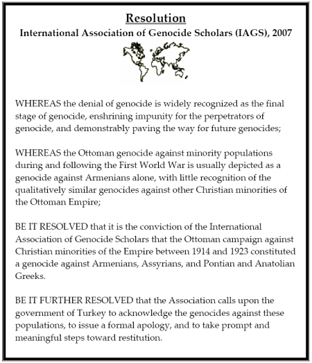 IAGS Assyrian & Greek Genocide Resolution